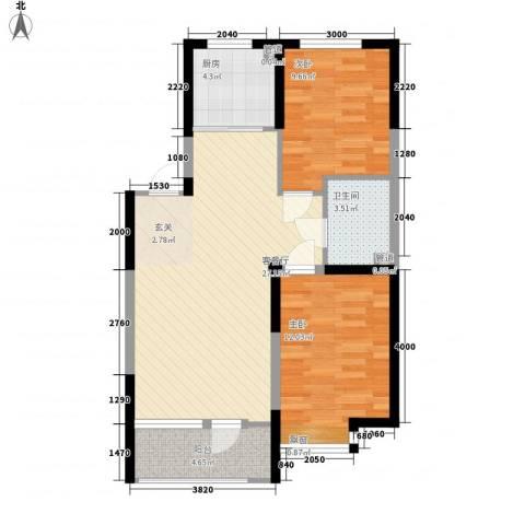融城7英里2室1厅1卫1厨87.00㎡户型图
