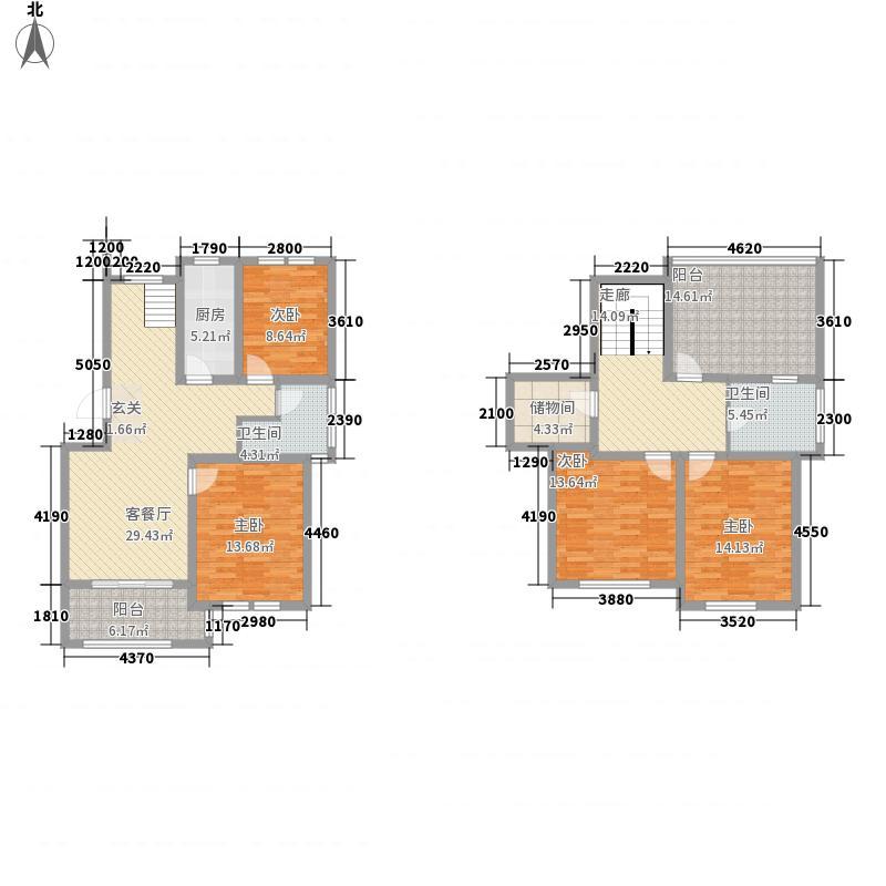 香邑漫步13.00㎡复式A3户型3室2厅2卫1厨