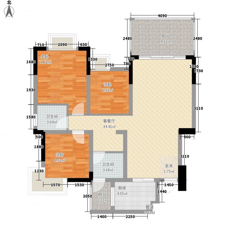 西塔12.00㎡小区户型3室