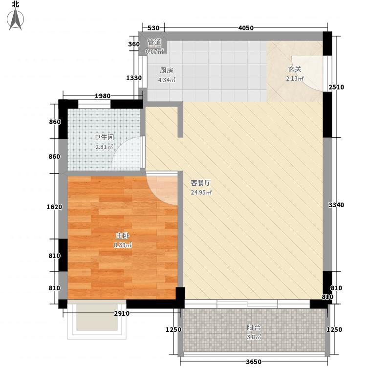 东方新城52.83㎡A1户型1室2厅1卫1厨