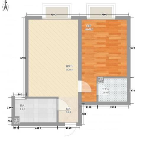 天奇渝中世纪1室1厅1卫1厨47.00㎡户型图