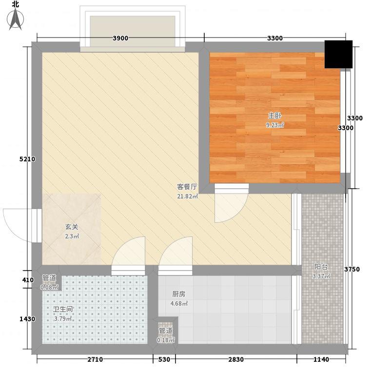 天奇渝中世纪48.18㎡B3型户型1室1厅1卫1厨
