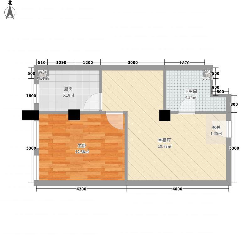 家天下65.44㎡平层户型1室2厅1卫