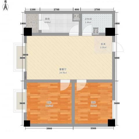 天奇渝中世纪2室1厅1卫1厨65.00㎡户型图
