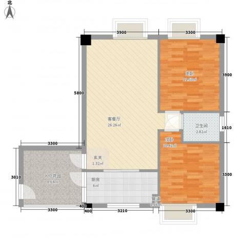 天奇渝中世纪2室1厅1卫1厨68.00㎡户型图