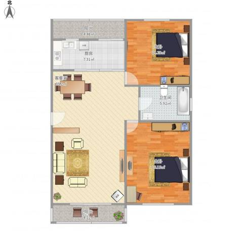 艾菲尔花园5号楼1单元2012室1厅1卫1厨120.00㎡户型图