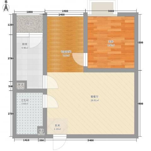 天奇渝中世纪1室1厅1卫1厨44.46㎡户型图