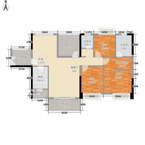 东方新城3室1厅2卫1厨132.00㎡户型图