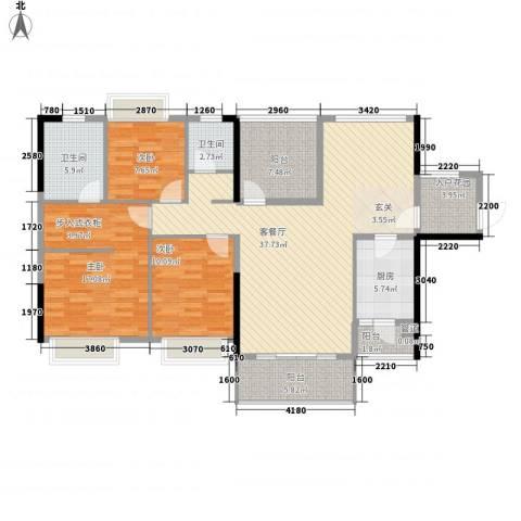 东方新城3室1厅2卫1厨128.00㎡户型图