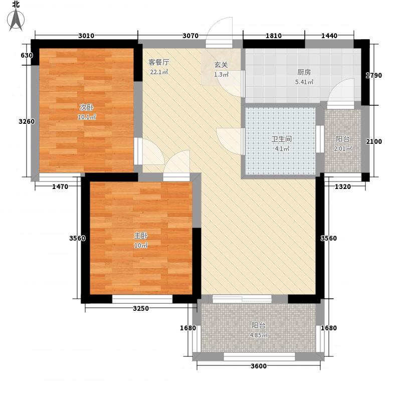 雪玉凯瑞苑85.22㎡B1户型2室2厅1卫1厨