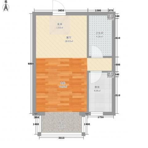 夏威夷南岸二期1厅1卫1厨53.00㎡户型图