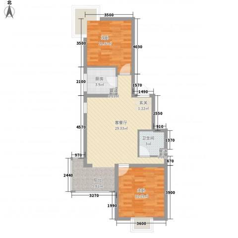 夏威夷南岸二期2室1厅1卫1厨89.00㎡户型图