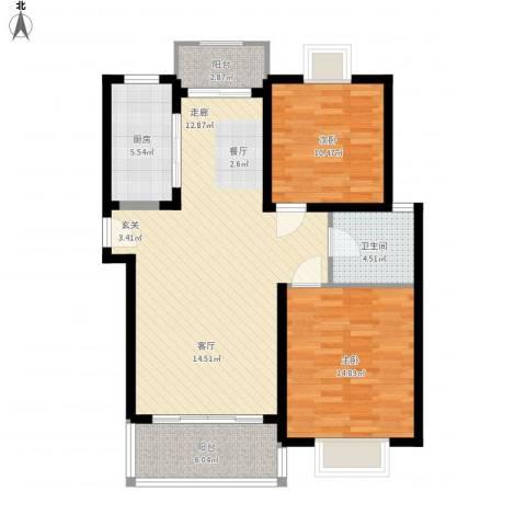 嘉骏香山苑2室1厅1卫1厨88.64㎡户型图