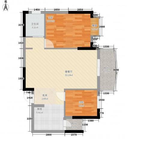 海天阳光花园2室1厅1卫0厨76.00㎡户型图