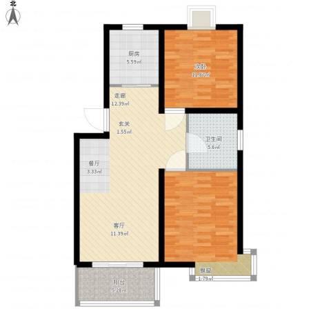 嘉骏香山苑2室1厅1卫1厨81.95㎡户型图