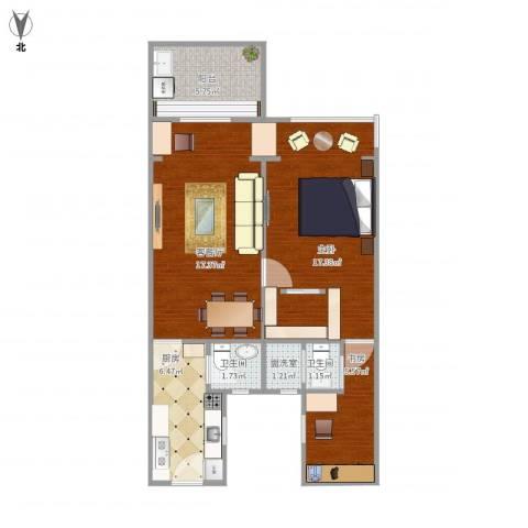 何家宅小区2室2厅2卫1厨77.00㎡户型图