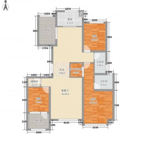 红蔷花园3室1厅2卫1厨149.00㎡户型图