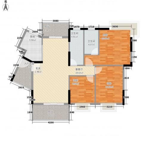丰泽园3室1厅2卫1厨127.00㎡户型图