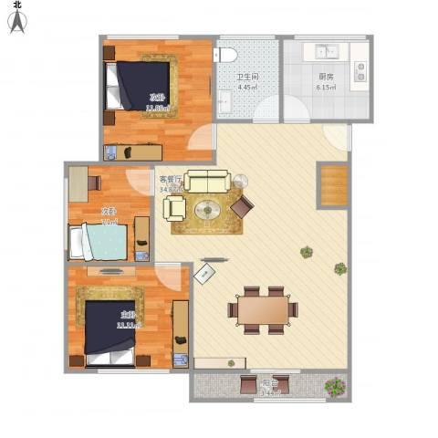 万荣小区-321-863室1厅1卫1厨108.00㎡户型图