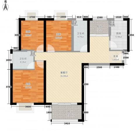 陆丰里3室1厅2卫1厨120.00㎡户型图