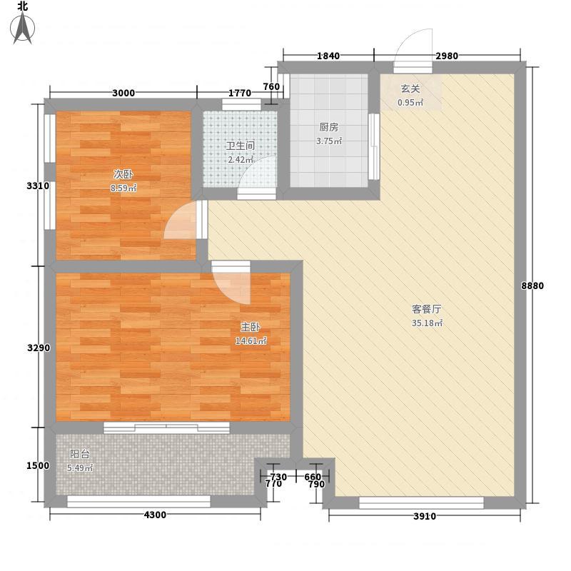 东成中心8.55㎡3户型2室2厅1卫1厨