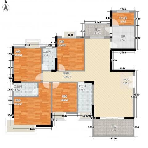 丰泽园4室1厅3卫1厨163.00㎡户型图