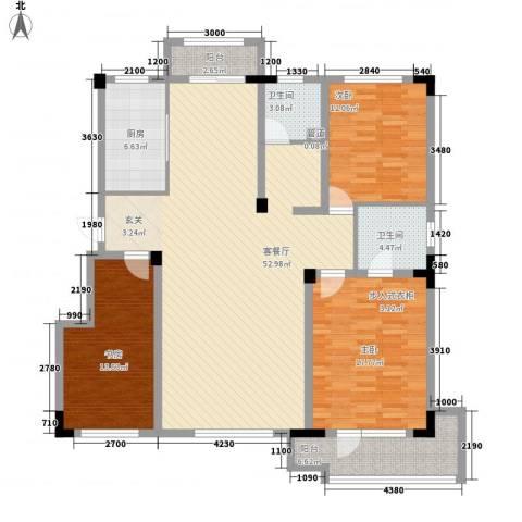 半山洋房3室1厅2卫1厨133.00㎡户型图