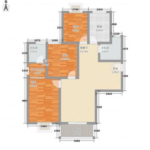 鲁铁花样年华3室1厅2卫1厨128.00㎡户型图
