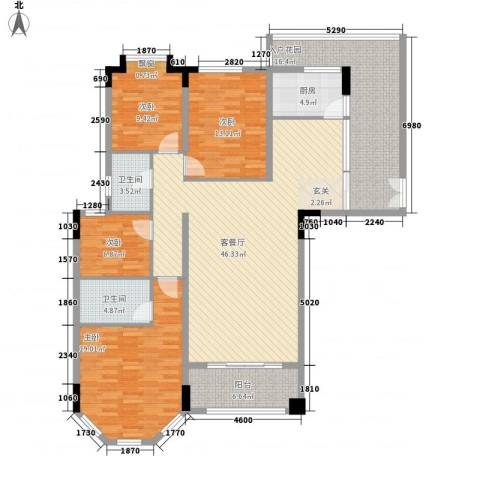 富龙翡翠欧庭4室1厅2卫1厨153.00㎡户型图