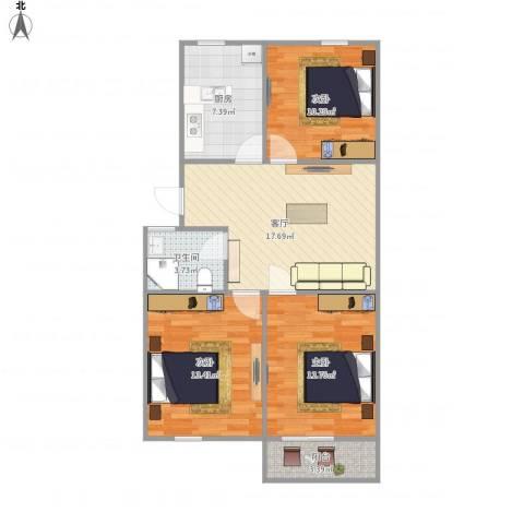 万荣小区-211-743室1厅1卫1厨92.00㎡户型图