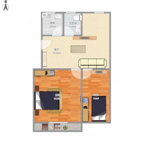 万荣小区-211-552室1厅1卫1厨69.00㎡户型图