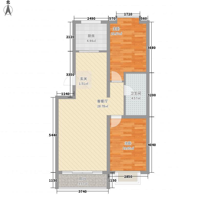 兴华景园87.50㎡b户型2室1厅1卫1厨