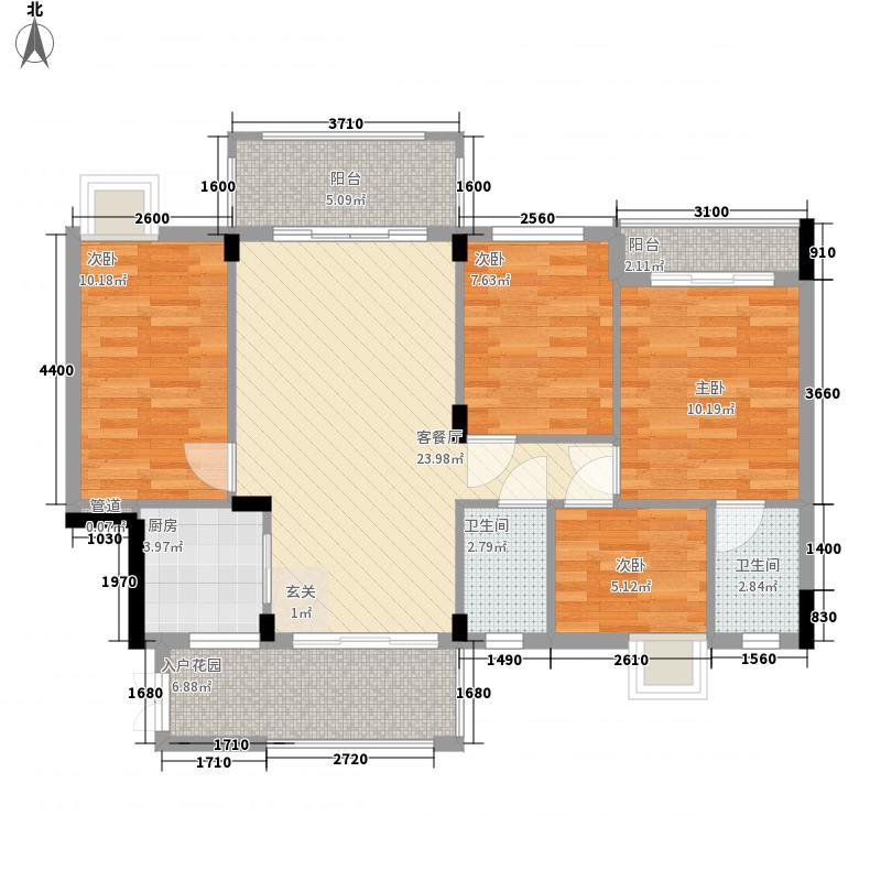 蜜糖苑115.00㎡一期A1栋-01、04单位户型4室2厅2卫1厨
