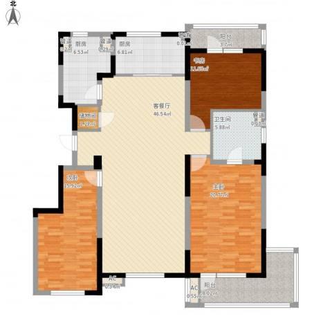 万科金域蓝湾3室1厅1卫2厨183.00㎡户型图