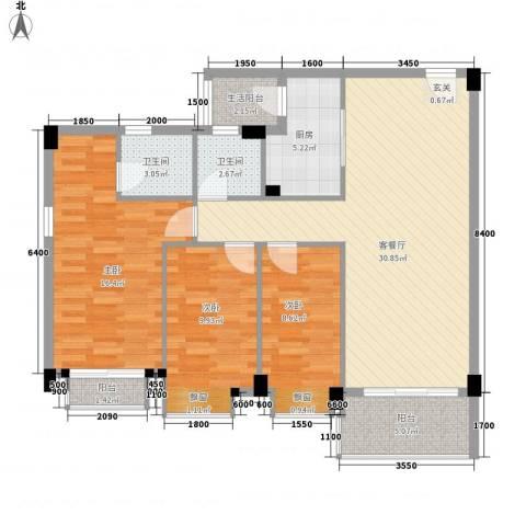 碧翠华庭3室1厅2卫1厨122.00㎡户型图