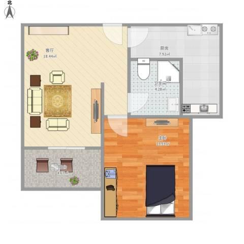 万荣小区-111-531室1厅1卫1厨66.00㎡户型图
