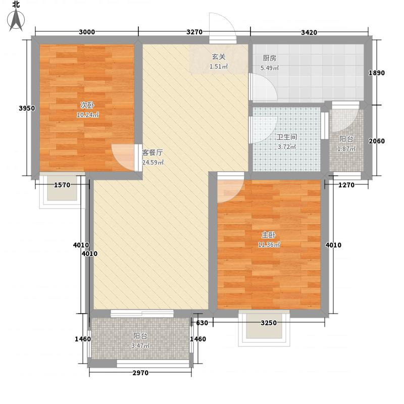 金晨嘉园87.64㎡二期D户型2室2厅1卫1厨