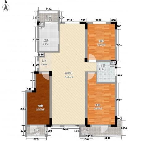 半山洋房3室1厅1卫1厨123.00㎡户型图