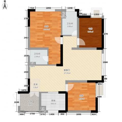 华渝西苑3室1厅2卫1厨110.00㎡户型图