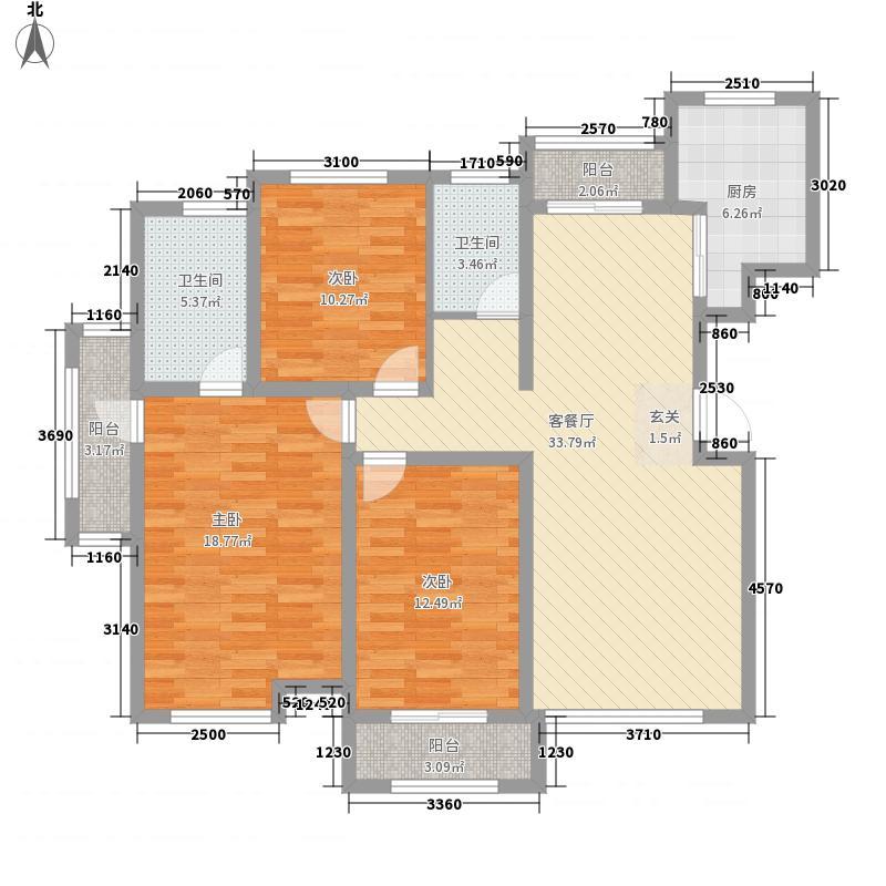 渤海湾国际公馆143.00㎡C1户型3室2厅2卫1厨