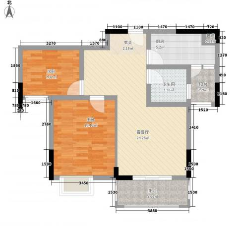 富鸿温泉公寓2室1厅1卫1厨89.00㎡户型图