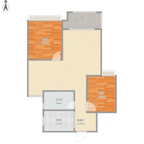 旭辉上河郡2室1厅1卫1厨88.00㎡户型图