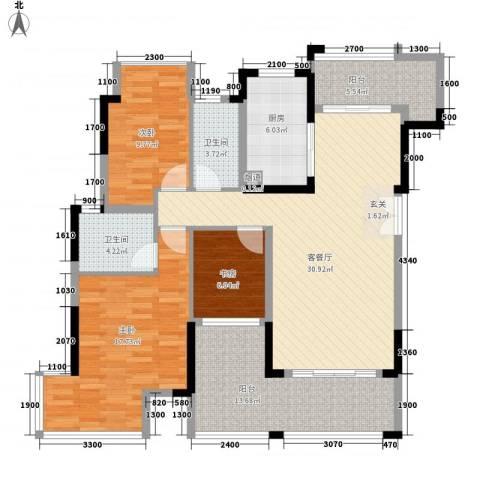 郦城水岸3室1厅2卫1厨97.77㎡户型图