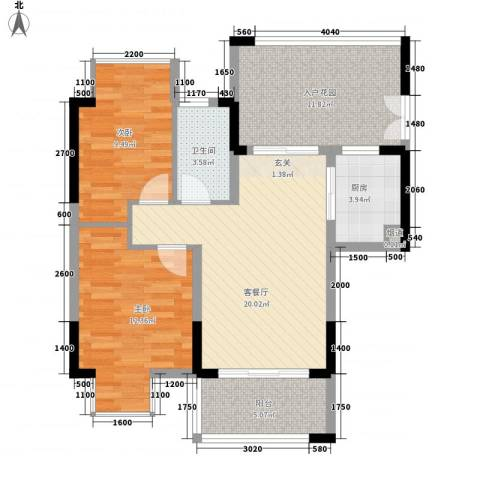 郦城水岸2室1厅1卫1厨66.40㎡户型图