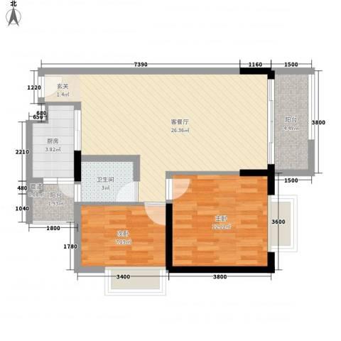 合正锦园2室1厅1卫1厨85.00㎡户型图