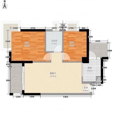 天林湖花园2室1厅1卫1厨82.00㎡户型图