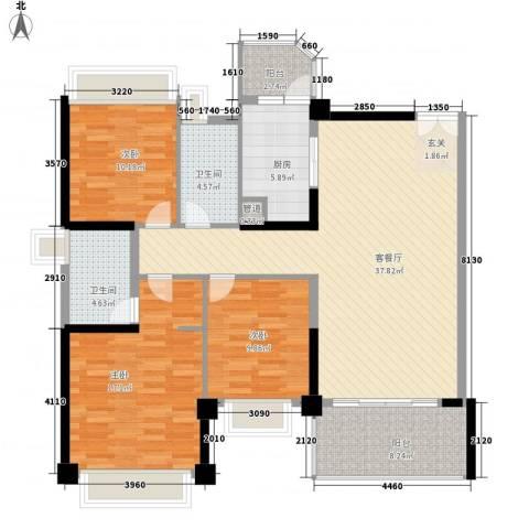 汇峰国际公寓3室1厅2卫1厨137.00㎡户型图