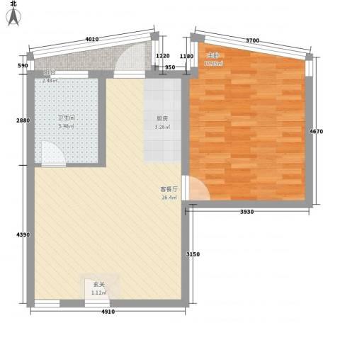 新领地1室1厅1卫0厨76.00㎡户型图