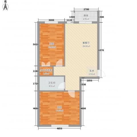 丰和日丽2室1厅1卫1厨67.05㎡户型图