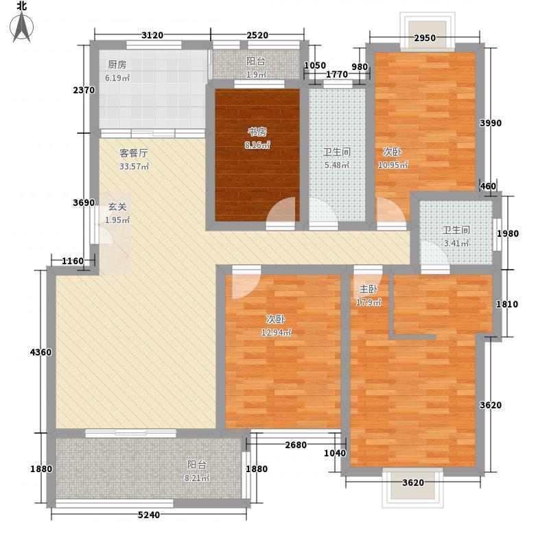 东方百合园158.00㎡豪华舒适居户型4室2厅2卫1厨